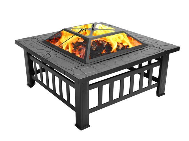 "31"" Outdoor Metal Firepit Square Table Backyard Patio Garden - Sale: $129.88 USD"