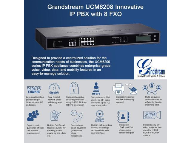 Grandstream UCM6208 Innovative IP PBX with 8 FXO and 2 FXS Ports -  Newegg com