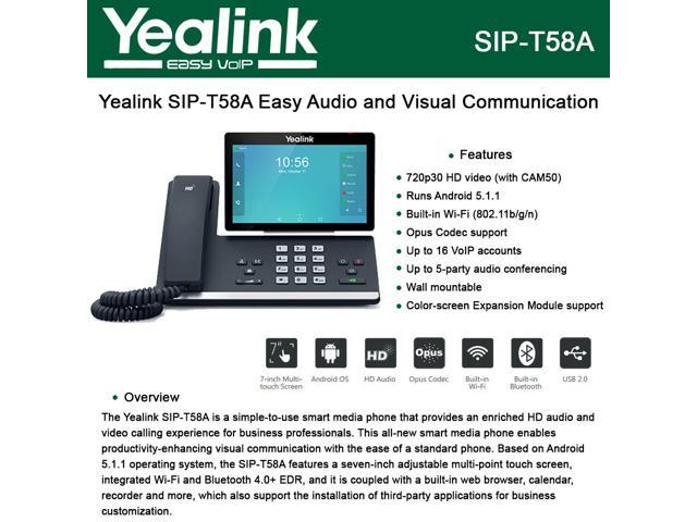 Yealink SIP-T58A IP Phone Smart Media Android HD Phone 16-Lines, USB port -  Newegg ca