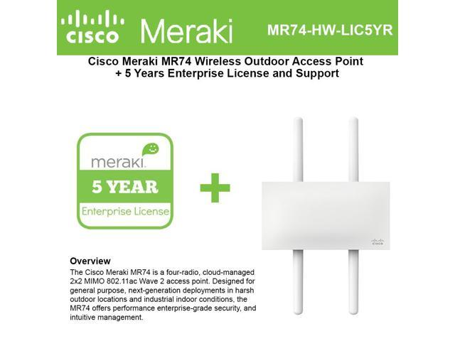 Cisco Meraki MR74 Wireless Outdoor Access Point + 5yr Ent  License and  Support - Newegg com