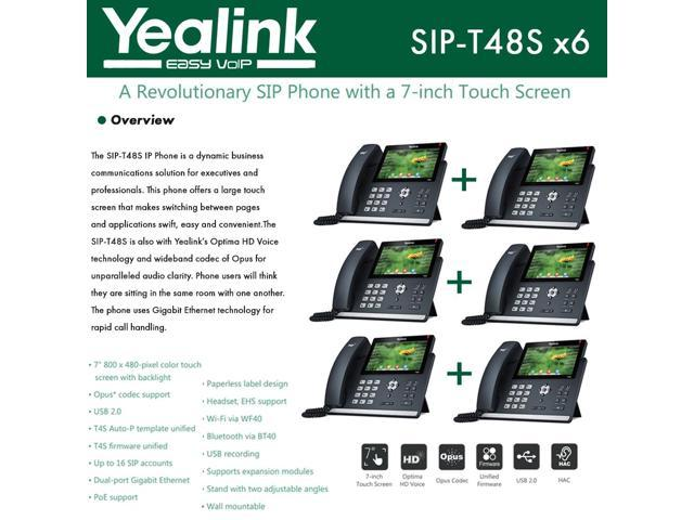 Yealink IP Phone SIP-T48S 6-Pack 16 SIP accounts HD Voice PoE Support -  Newegg com