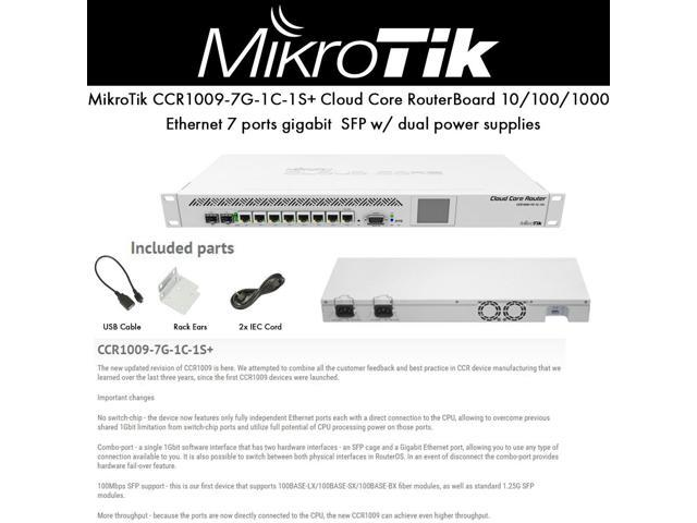 MikroTik - CCR1009-7G-1C-1S+ - Cloud Core Router 1009-7G-1C-1S+ with Tilera  Tile-Gx9 CPU (9-cores, 1 2GHz per core), 2GB - Newegg com