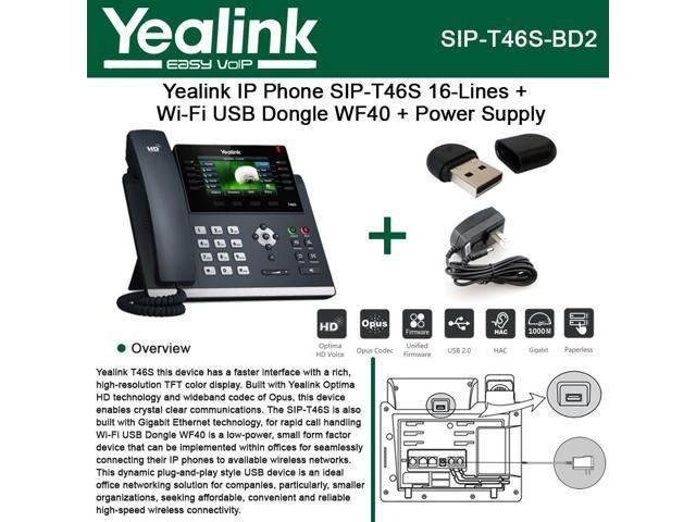 Yealink SIP-T46S IP Phone 16Line HD Voice + Wi-Fi USB Dongle WF40 + Power  Supply - Newegg com