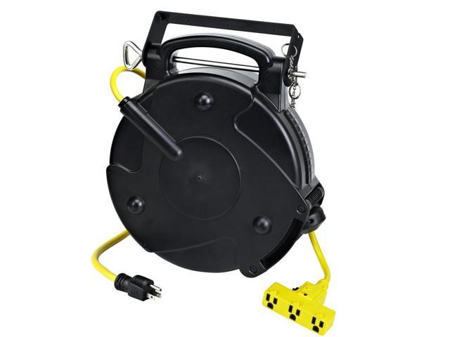 Retractable Extension Cord Reel >> Industrial Retractable 40 Ft 12 3 Extension Cord Reel Tri Tap And