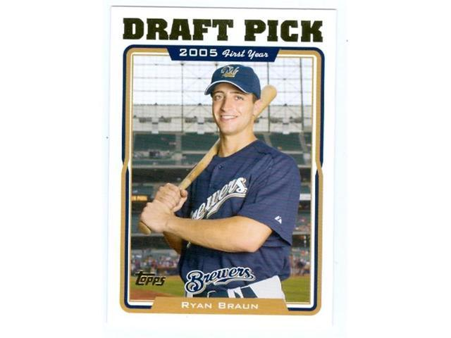 Autograph Warehouse 44135 Ryan Braun Baseball Card 2005 Topps Traded No Uh313 Milwaukee Brewers Rookie Card Neweggcom