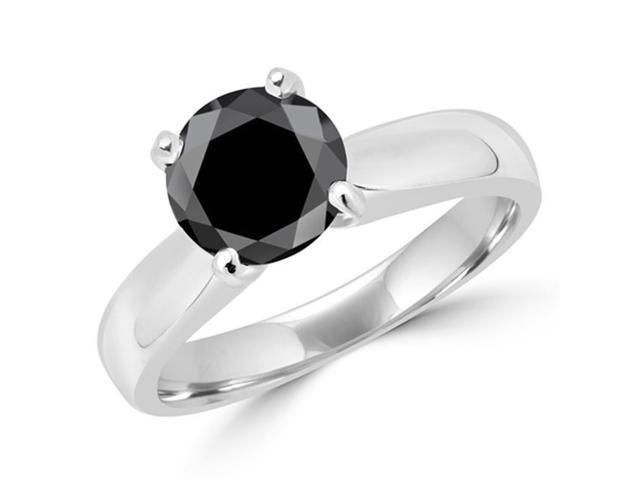 cfff9fb95f5b6e Majesty Diamonds MD160313-8.25 1.4 CT Classic 4-Prong Round Black Diamond  Engagement Ring