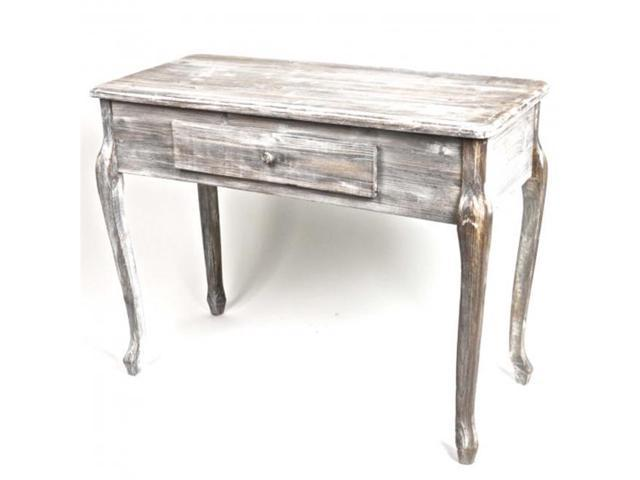 Hi Line Gift Ntw9052 Antique Style Wooden Console Table With A Drawer Grey