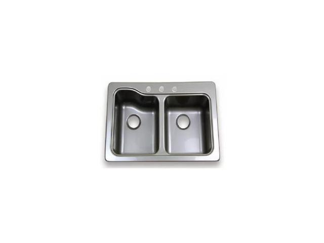 Lippert Components M6V-209586 Double Bowl 3 - Hole Stainless Steel Sink -  Newegg com