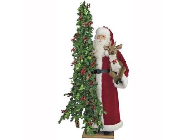 4.75' Pre-Lit Santa Reindeer Pencil Artificial Christmas