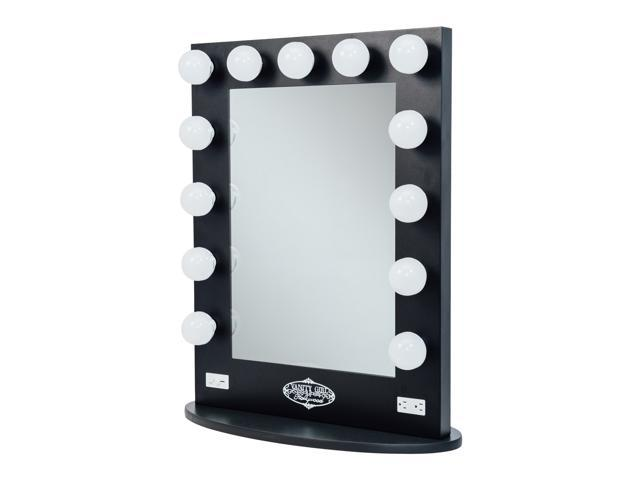Black Vanity Girl Broadway Lighted Vanity Mirror With 2 Outlets And Dimmer  Switch   13 Makeup