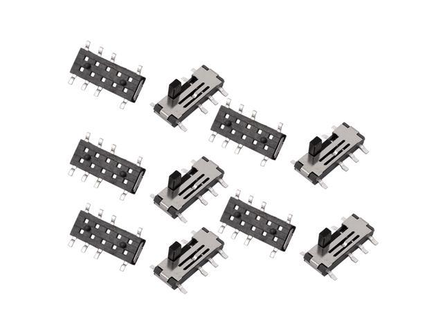10pcs 3 position 8p 2p3t smt smd self locking mini power slide switch 10x6x3mm
