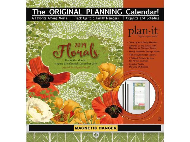 2019 Florals Plan It Plus Wall Calendar, Family Organizer by Lang Companies  - Newegg com