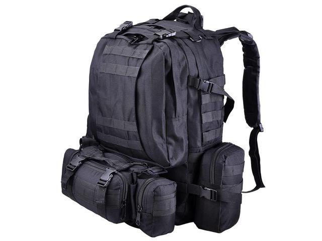 Outdoor Sport Hiking Camping Backpack Large 600D Oxford Trekking Bag W   Adjustable Chest Belt Black 1b478de398ca2