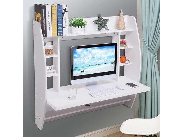 Wall Mounted Floating Computer Desk With Storage Shelves Laptop Home Office  Furniture For Work White