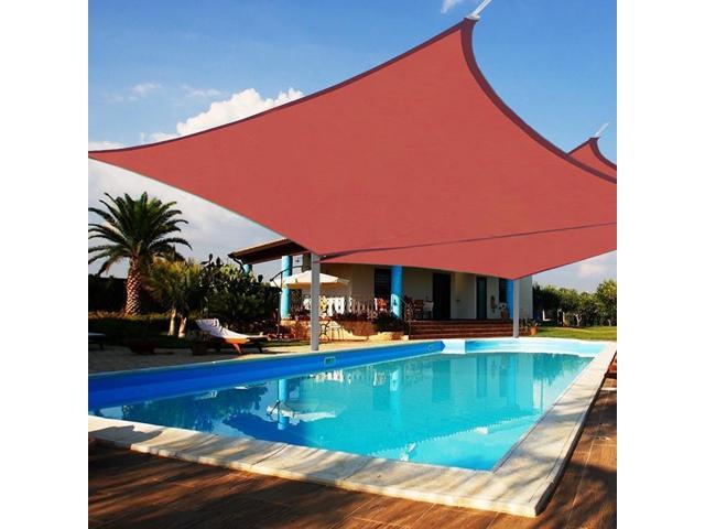 2pcs 18x18 Square Sun Shade Sail Canopy Top 6 Degree Lower Outdoor Patio Cover