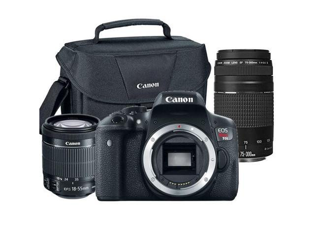 Canon EOS Rebel T6i 24.2MP DSLR Camera with 18-55mm Lens , 75-300mm Lens Lens and Canon 100ES Case