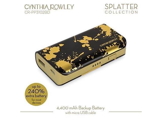 2ff4cc2cb9ef cynthia rowley portable rechargeable backup battery 4400 mah black/gold -  Newegg.com