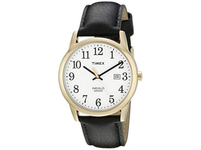 4a9888d5d timex men's tw2p75700 easy reader black/goldtone leather strap watch ...