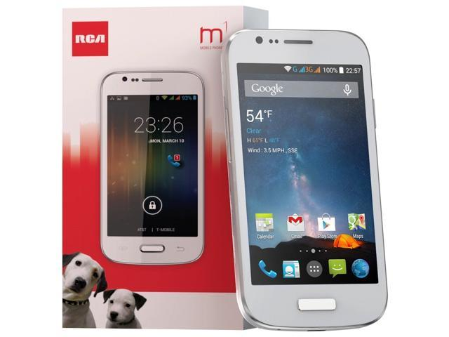RCA M1 Unlocked Cell Phone, Dual SIM, 5MP Camera, Android 4 4, 1 3GHz  (White) - Newegg com