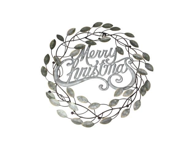 17 5 Quot Galvanized Metal Merry Christmas Wall Hanging Wreath