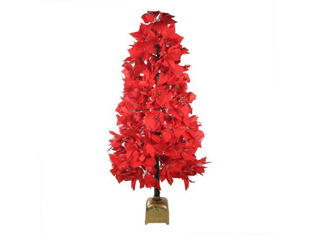 4' Pre-Lit Fiber Optic Color Changing Red Poinsettia