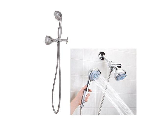 High Pressure 5 Setting Dual Handheld Shower Head With 60 Inch Long