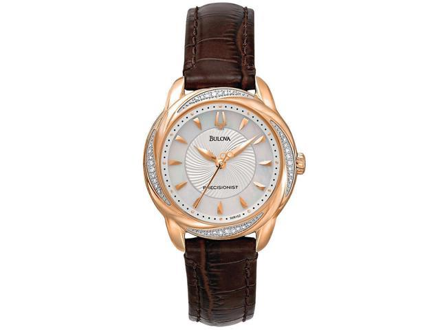 22352f9a8 Bulova Womens 98R152 Precisionist Brightwater 20 Diamond Accnted Rose-Gold  Watch