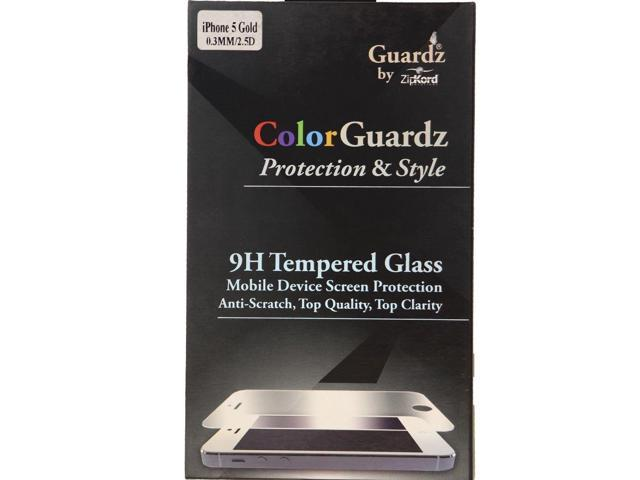 Refurbished: ZipKord ColorGuardz 9H Tempered Glass for iPhone SE 5s 5 w/  Gold Border Trim - Newegg com