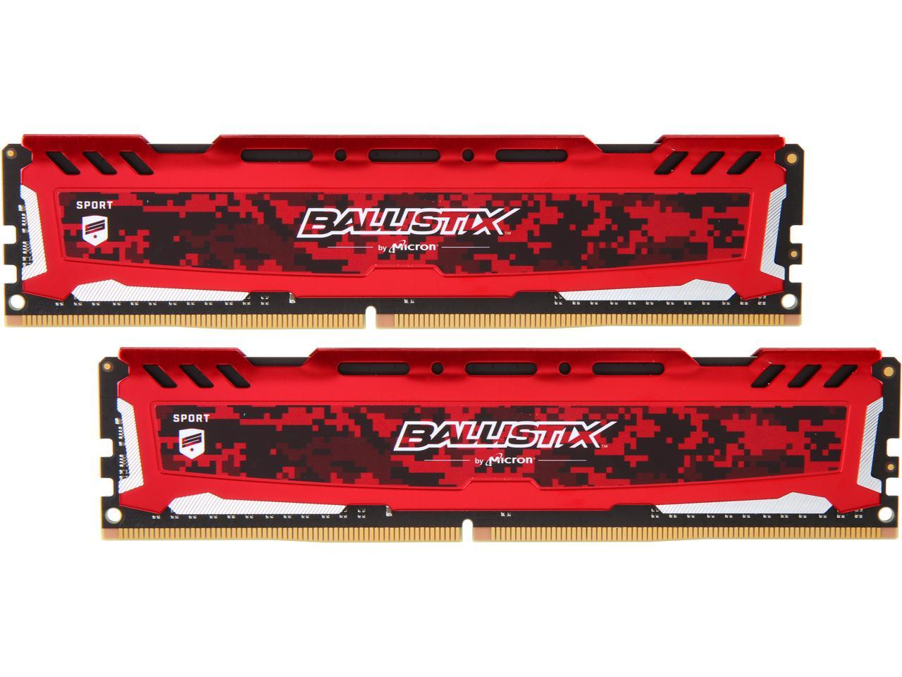 Ballistix BLS2K8G4D32AESEK 16GB (2 x 8GB) PC4-25600 3200MHz DDR4 288-Pin DIMM Desktop Memory (Red)