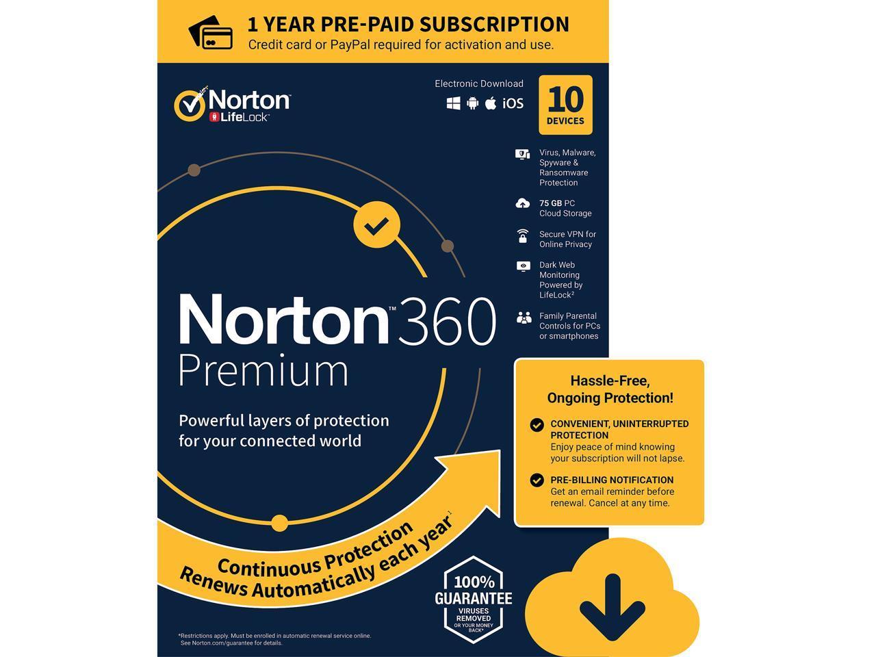 Norton 360 Premium 10 Devices /1 Year (Download)