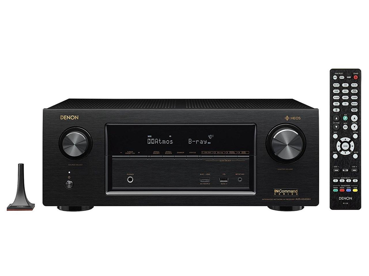 Denon AVR-X3400H 7.2 Channel Full 4K Ultra HD Network 4K Receiver with HEOS with $50 Gift card