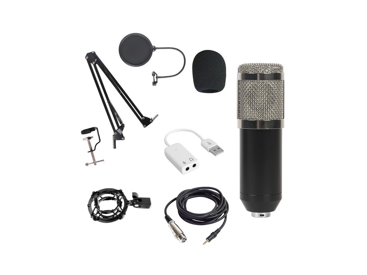Microphone and all included accessories are on display.