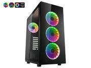FSP ATX Mid Tower PC Computer Gaming Case with 2 Translucent Tempered Glass Panels with 4 Addressable RGB Fans (CMT340)