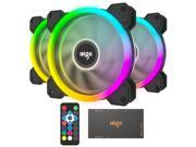 Aigo DR12 2019 Version 3IN1 120mm RGB LED Adjustable Color Quiet High Airflow Long Using Life Computer Case PC Cooling Fan, CPU Cooler and Radiator