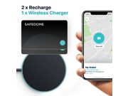 Safedome Rechargeable Bluetooth Tracker Cards (TWO CARD pack) with Wireless Charging Pad