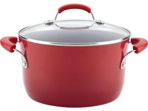 Rachael Ray Classic Brights Hard Enamel Nonstick Covered Stockpot, 6-Quart, Red Gradient