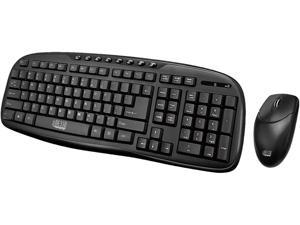 Adesso WKB-1330CB- 2.4 GHz Wireless Desktop Keyboard and Mouse Combo - Retail - USB Wireless RF 103 Key - English (US) - USB Wireless RF Optical - 1200 dpi - 3 Button - Scroll Wheel - QWERTY - Play/Pa