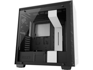 NZXT H700i Mid Tower Chassis with 3x120mm, 1x140mm and LED strips, Matte White/Black with Smart Device, Cable Management System and Tempered Glass