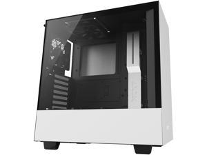 NZXT H500 - Compact ATX Mid-Tower PC Gaming Case - Tempered Glass Panel - All-Steel Construction - Enhanced Cable Management System - Water-Cooling Ready - White/Black