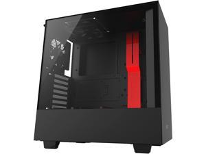 NZXT H500 - Compact ATX Mid-Tower PC Gaming Case - Tempered Glass Panel - All-Steel Construction - Enhanced Cable Management System - Water-Cooling Ready - Black/Red