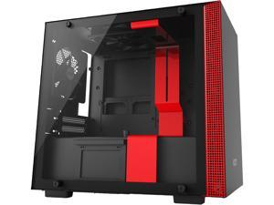 NZXT H200 - Mini-ITX PC Gaming Case - Tempered Glass Panel - All-Steel Construction - Enhanced Cable Management System - Water Cooling Ready - Black/Red