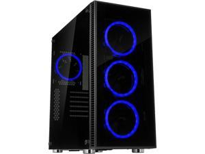 Rosewill ATX Mid Tower Gaming PC Computer Case with Dual Ring Blue LED Fans, 360mm Water Cooling Radiator Support, Tempered Glass and Steel, USB 3.0 - CULLINAN V500 Blue