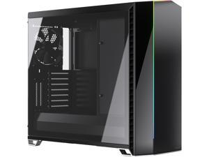 Fractal Design Vector RS Blackout ATX Silent Modular Tempered Glass Window Mid Tower Computer Case with ARGB LED strip and Adjust R1 RGB Controller