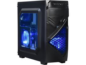DIYPC Alnitak-BK Black USB 3.0 ATX and Micro-ATX Mid Tower Gaming Computer Case with 3 x 120mm Blue Fans (Pre-installed)