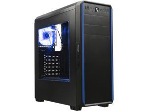 DIYPC J180-BL Black Dual USB 3.0 ATX Mid Tower Gaming Computer Case with Build-in 2 x Fans (1 x 120mm Fan x Front, 1 x 120mm Blue LED Fan x rear)