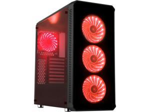 DIYPC Vanguard-RGB Black Dual USB3.0 Steel/ Tempered Glass ATX Mid Tower Gaming Computer Case w/Tempered Glass Panels (Front and Both Sides) and Pre-Installed 4 x RGB LED Fans