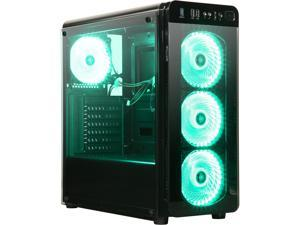 DIYPC VisionII-BG  Black USB3.0 Steel / Tempered Glass ATX Mid Tower Gaming Computer Case w/ Tempered Glass Panels (Front and Left Side), 4 x Green 33LED Light Fan (Pre-Installed)