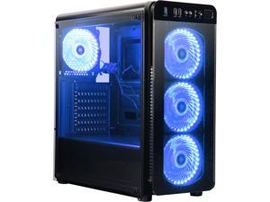 DIYPC VisionII-BL Black USB3.0 Steel / Tempered Glass ATX Mid Tower Gaming Computer Case w/ Tempered Glass Panels (Front and Left Side), 4 x Blue 33LED Light Fan (Pre-Installed)