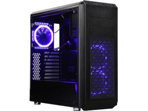 DIYPC Vanguard-V6-RGB Black Dual USB3.0 Steel/ Tempered Glass ATX Mid Tower Gaming Computer Case w/Tempered Glass Panel and Pre-Installed 3 x RGB LED Dual Ring Fans