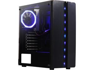 DIYPC Diamond-F1 Black USB3.0 Steel/ Tempered Glass ATX Mid Tower Gaming Computer Case w/Tempered Glass Side Panel, 1 x Blue LED Ring Fan x Rear (Pre-Installed)